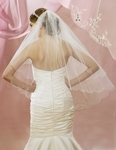 Elegant embroidered scalloped two tier bridal veil - SALE