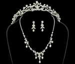 Elegant freshwater pearl crystal and matching necklace set