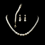 Elegant Gold Ivory Pearl 3 Piece Jewlery Set  - SALE