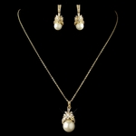 Elegant gold ivory pearl wedding jewelry set - SPECIAL