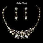 Elegant Gold Pearl Wedding Necklace & Earrings Set