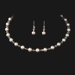 Elegant Ivory pearl and crystal necklace set