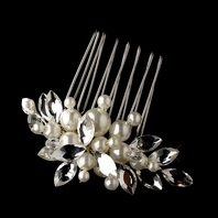 Elegant off white pearl and crystal wedding comb - SPECIAL - sold