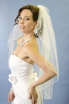 Elegant one tier vermicelli edge wedding veil - SALE