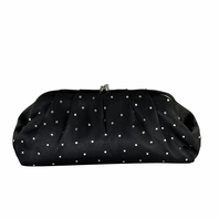 Elegant rhinestone black satin evening purse - SALE!!