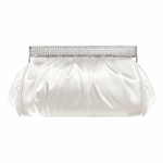 Elegant rhinestone closure white wedding clutch purse - SALE