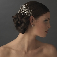 Elegant Rhinestone & Swarovski Crystal Floral Spray Bridal Hair Comb - Sale