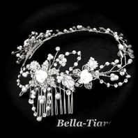 Elegant romantic rose pearl and crystal hair vine - special