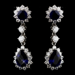 Elegant sapphire and cz bridesmaids earrings - SALE