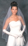 Elegant satin cord with pearls bridal veil