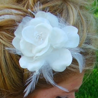 Elegant Silk Flower Feather accent Bridal Hair comb - SALE!