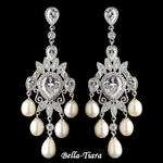 Elegant Silver CZ Crystal & Freshwater Pearl Chandelier Earrings