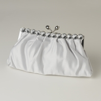 Elegant silver satin rhinestone edge evening purse - SALE