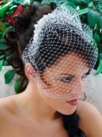 Elegant Swarovski Crystal Bridal Comb w/ attached Cage Veil - SALE!!