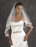 Elegant two tier lace edge wedding designer veil - SALE