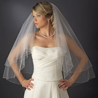 Elegant two tier Swarovski crystal edge wedding veil - SPECIAL
