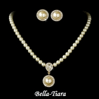Elegant Victorian Style Gold Ivory Pearl Bridal Jewelry Set