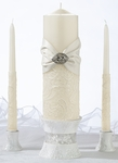 Elegant Vintage Cream Lace Pillar and Two Tapers