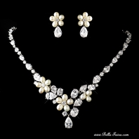 Eliza - NEW GORGEOUS Freshwater pearl CZ wedding necklace set - SALE