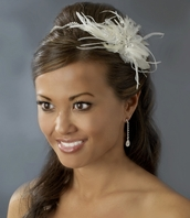 Elsie - Bridal Feather Fascinator headband
