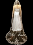 Emiliana - Dramatic royal length beaded crystal cathedral wedding veil - SPECIAL