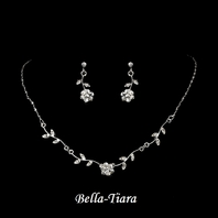 Enchanting - Silver Clear Floral Bridal Jewelry Set - QUANTITY DISCOUNT
