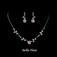 Enchanting - Silver Pink Floral Bridal Jewelry Set - QUANTITY DISCOUNT