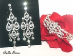 Enza - Elegant Bridal chandelier earrings and bracelet set - SALE