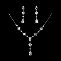 Erika - ELEGANT Couture Cubic Zirconia wedding bridal necklace set - SALE