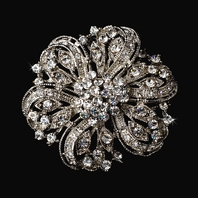 Esta - Beautiful vintage rhodium brooch - SALE