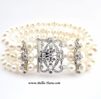 Estelle - Elegant vintage pearl wedding bracelet - SALE!!