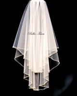 Exquisite crystal silver beaded edge wedding veil