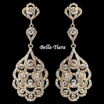 Exquisite Light Gold Clear Rhinestone Chandelier Earrings