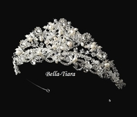 Fairy-Tale crown freshwater pearl crystal Wedding Tiara- SALE!!