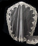 Farrah - Royal Collection beaded mantilla scalloped edge - SALE