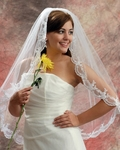 Fayna - Beautiful scalloped lace mantilla style wedding veil - SALE!!