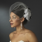 Feather crystal Flower Bridal Hair Comb w / birdcage veil - SALE!!