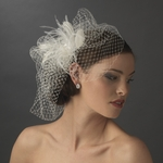 Feather Rhinestone Couture Fascinator & Birdcage Veil Comb - SALE!!