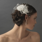 Feather Spray Bridal Hair Comb with Rhinestone - CLEARANCE two left