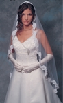 Fingertip length mantilla veil with beaded alencon lace - sale!!
