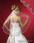 Fingertip or Cathedral 1-Tier Beaded and Lace Edge Bridal Veil - SALE!!