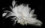 Forever-Gorgeous vintage off white flower and feathers bridal comb - SALE