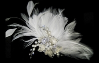 Forever - GORGEOUS vintage off white flower w/ crystal feathers - SALE!!!