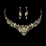 Freshwater Pearl Gold Crystal Necklace Earring Set - SALE