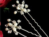 Freshwater Pearl & Rhinestone Wedding Hair Pins<br>- Set of 2