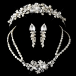 Freshwater Pearl, Swarovski Crystal Tiara and necklace set - SALE