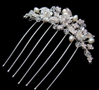 Freshwater pearls and glistening Genuine Swarovski Crystals Hair Comb
