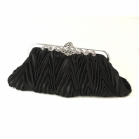 Frida - Black Satin  Vintage Frame Evening Bag - SALE