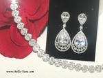 Georgina - Elegant vintage CZ drop Wedding earrings - SALE