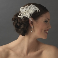 Giasara-Beaded floral feather bridal hair pin-SALE!!